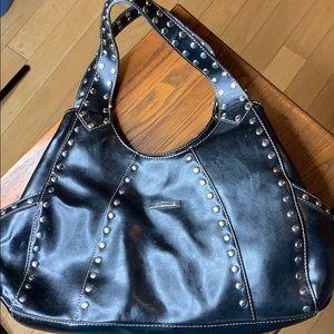 La Philippe Faux Leather Black satchel handbag